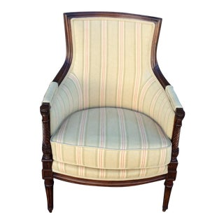 Linen & Wood Side Chair For Sale