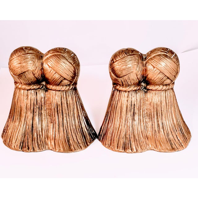 Vintage Brass Tassel Bookends a Pair For Sale - Image 9 of 9