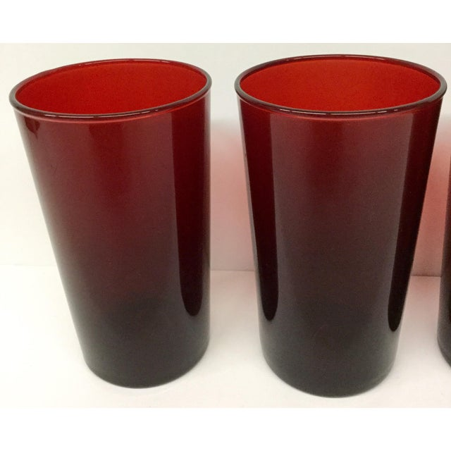 Art Deco Antique Ruby Red Signed Anchor Hocking Glasses - Set of 4 For Sale - Image 3 of 10
