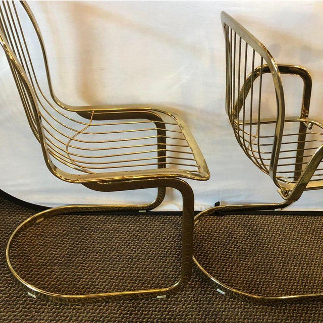 Willy Rizzo for Cidue 8 Dining Chairs Italian 1970s Brass Plated Metal Labelled For Sale - Image 9 of 13