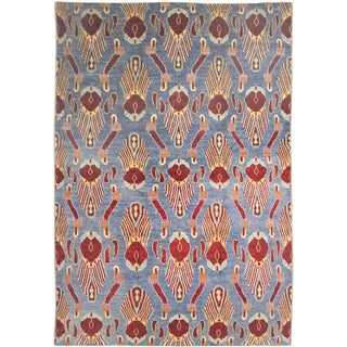 Aara Rugs Inc. Hand Knotted Ikat Rug - 10′2″ × 13′7″ For Sale