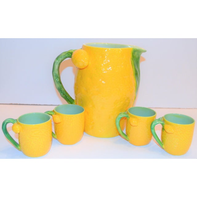 1970s 1970s (Final Markdown). Majolica Limoncello Pitcher and Cups- 5 Pieces For Sale - Image 5 of 7
