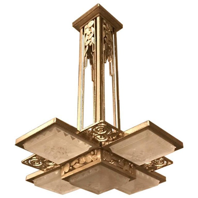 French Art Deco Geometric Chandelier Signed by Muller Frères Luneville For Sale - Image 13 of 13
