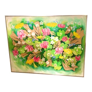 Extra Large Vintage Original Spring Flowers Painting For Sale