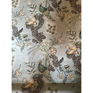 """Miles Redd for Schumacher """"Peacock"""" in Aqua Chintz Fabric - 2 1/2 Yards For Sale"""