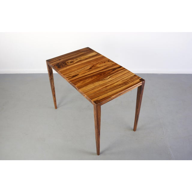 1970s Danish Modern Zebra Wood Writing Desk/Console Table For Sale - Image 4 of 7