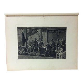 """Antique Photogravure on Paper, """"The Enrollment of Volunteers"""" by Alfred Paul De Richemont - Circa 1860 For Sale"""