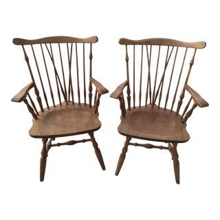 Duxbury Riddlebaum Nutmeg Windsor Captain Chairs - a Pair For Sale