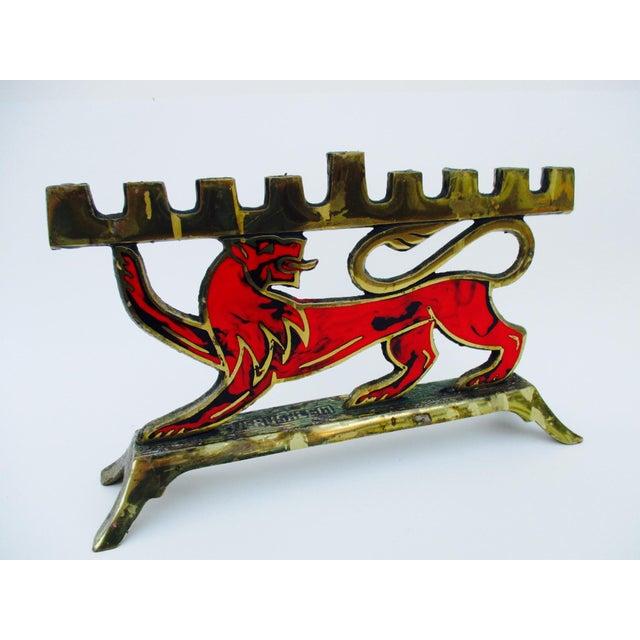 Hen Holon Brass & Enamel Lion Menorah - Image 3 of 9