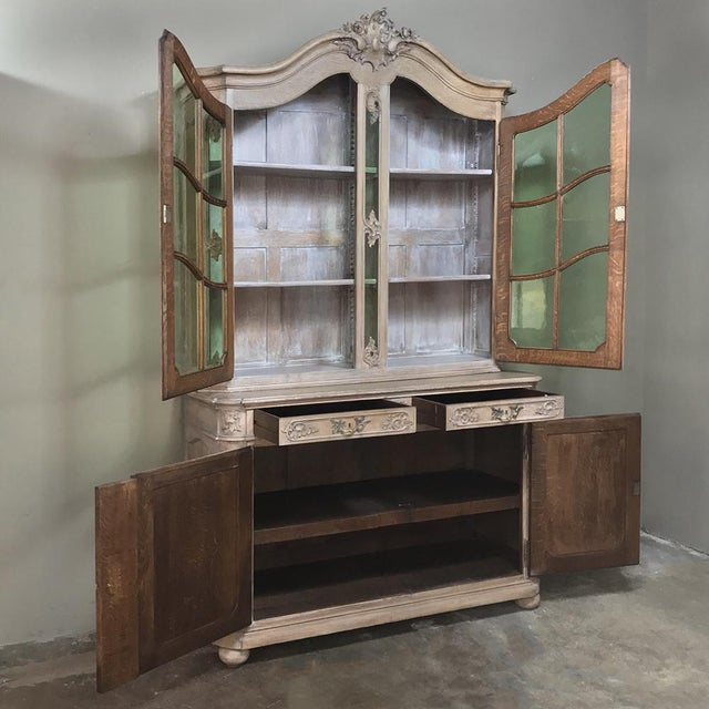 19th Century Country French Provincial Stripped Bookcase ~ Vitrine For Sale - Image 4 of 13