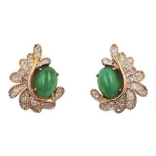 1960s Jomaz Cabochon Faux-Jade & Pavé Rhinestone Earrings For Sale