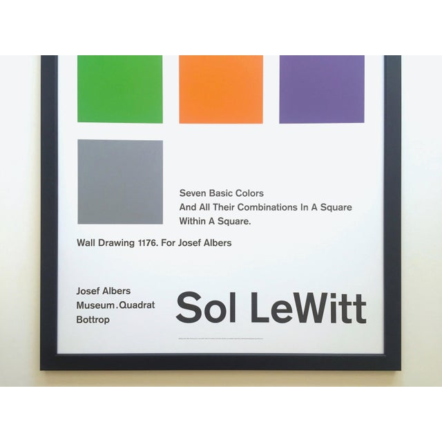 Abstract Sol LeWitt Lithograph Print Josef Albers Museum Framed Minimalist Exhibition Poster For Sale - Image 3 of 13