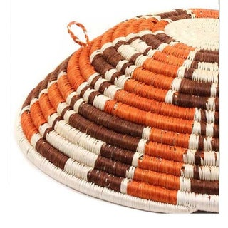 Rwanda Zig Zag Woven Basket - Brown & Burnt Orange With White Preview