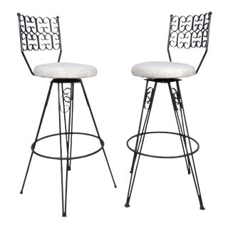 Vintage Pair Mid Century Modern Arthur Umanoff Grenada Wrought Iron Bar Stools Chair