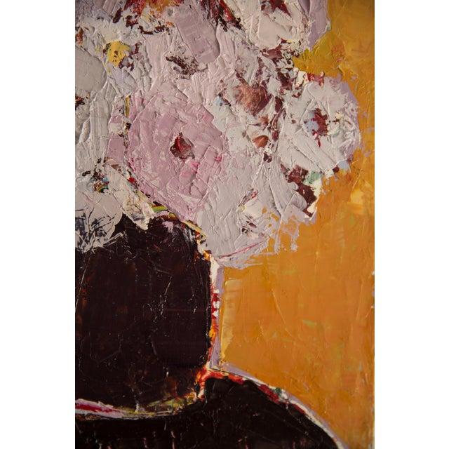"""Abstract Bill Tansey """"Brown Vase"""" Abstract Floral Oil on Canvas Painting For Sale - Image 3 of 5"""