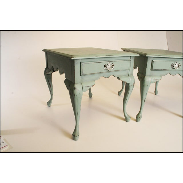Vintage French Distressed Wood Side Tables - Pair - Image 4 of 11