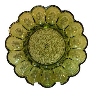 Vintage Green Indiana Glass Hobnail Deviled Egg Serving Plate For Sale