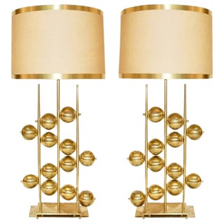 Italian Contemporary Organic Gold Brass Lamps With Spheres - a Pair For Sale
