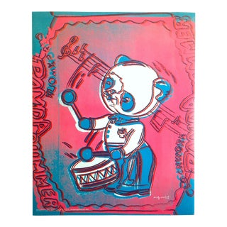 "Andy Warhol Foundation Vintage Pop Art Poster Print "" Panda Drummer "" 1983 For Sale"