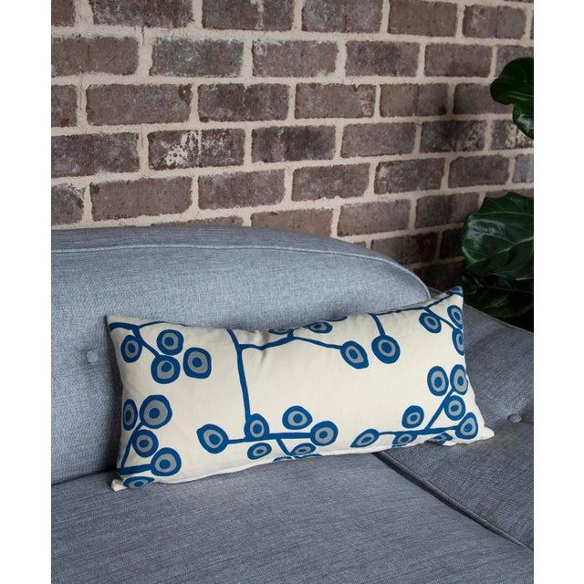 2010s Scandinavian Floral Cream Lumbar Pillow For Sale - Image 5 of 6