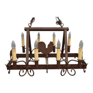Vintage French Country Wrought Iron Pot Rack Chandelier W 8 Lights Chicken Pigs For Sale