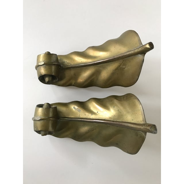 Vintage Brass Feather Leaf Bookends - Image 7 of 10