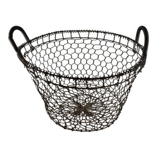 19th C. French Large Wire Handled Maison de Campagne Basket For Sale