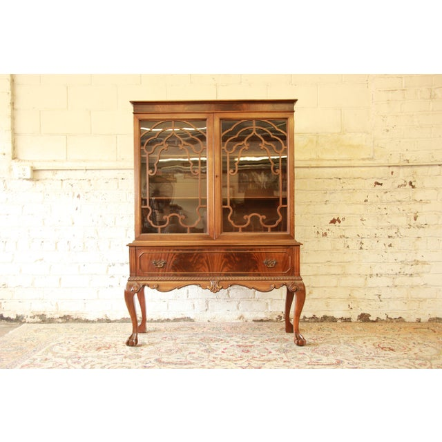 Mahogany Antique French Chippendale Mahogany Cabinet For Sale - Image 7 of 7