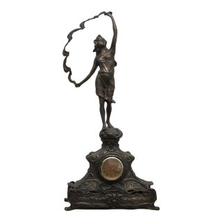 French Art Nouveau Clock Figural Sculptured Piece in Bronze For Sale