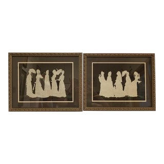 Victorian Silhouette Cutouts -- a Pair Framed Ladie's in Dresses Parasols For Sale