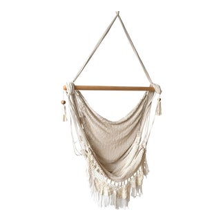 Woven Ivory Macrame Hammock Chair For Sale