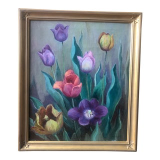 Eliot Clark Floral Still Life Oil on Canvas 1940s For Sale