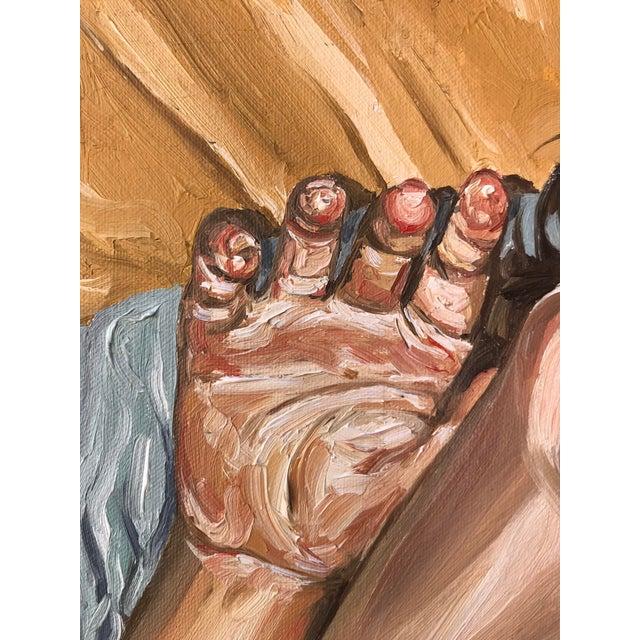 2000 - 2009 Fernando Franca Life Study Acrylic Painting on Canvas of Sleeping Boy For Sale - Image 5 of 11