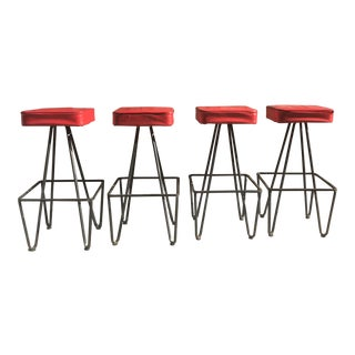 Frederick Weinberg Wrought Iron Bar Stools - Set of 4