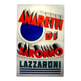 Huge Original 1932 Italian Art Deco Kitchen Poster, Amaretti DI Saronno For Sale