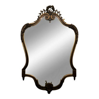 Antique Regency Style Carbed Walnut Gilt-Wood Cartouche Mirror For Sale