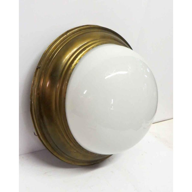 Traditional Milk Glass Dome Light Flush Mount Fixture For Sale - Image 3 of 5