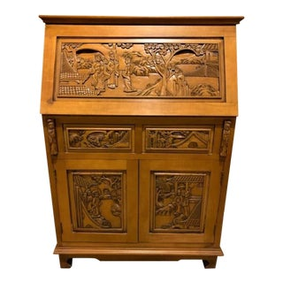 Vintage Indonesian Hand Carved Teak Wood Secretary Desk For Sale