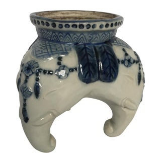 Blue & White Porcelain Elephants Tripod