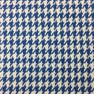 Blue Houndstooth Fabric - 1 and 8/9 Yards For Sale