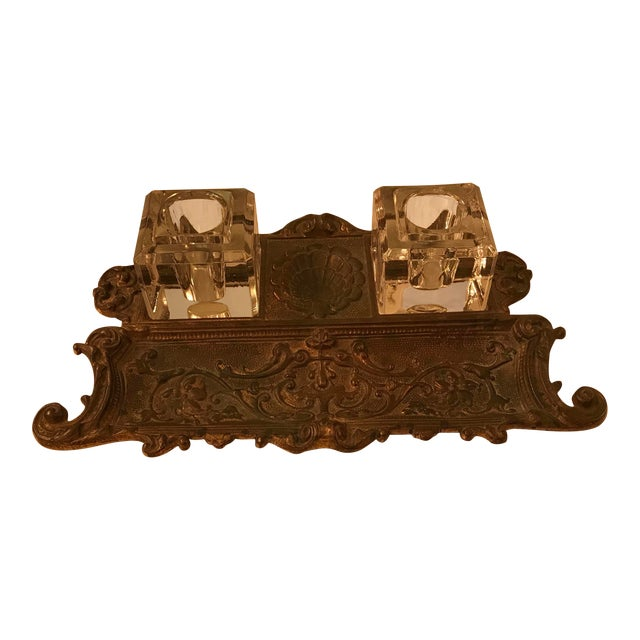 Antique Gold Gilt, Cast Iron Double Inkwell, With Pen Tray For Sale