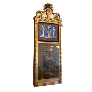 French Empire Mirror With Eglomise Post On For Sale