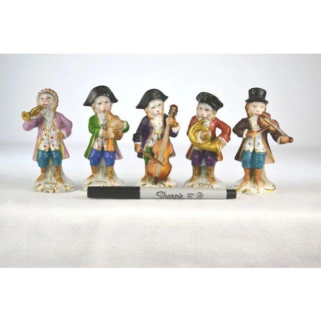 Ceramic Antique Porcelain Monkey Musician, from Germany, Brown Coat For Sale - Image 7 of 8