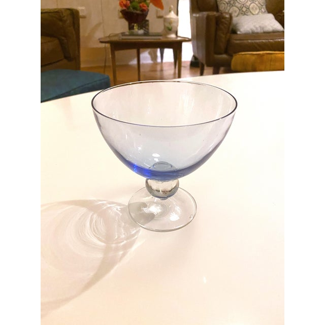 Mid 20th Century Vintage 1950's Scandinavian Hand Bowl Glass Colorful Desert Glasses - a Set of 4 For Sale - Image 5 of 11