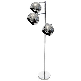 Three-Light Chrome Floor Lamp For Sale