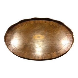 1910s English Inlaid Walnut Tray For Sale