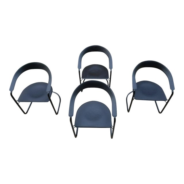 Stendig Italian Leather Tubular Arm Chairs - Set of 4 - Image 1 of 11