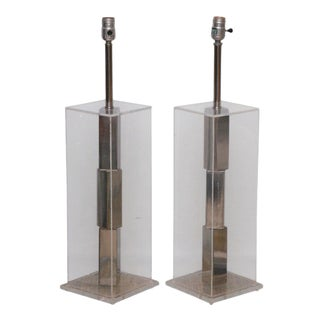 Pair of Lucite and Polished Chrome Lamps For Sale