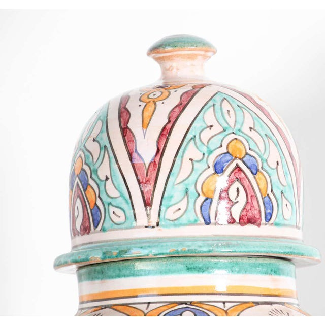 Moorish Ceramic Glazed Covered Urns Handcrafted in Fez Morocco - A Pair For Sale - Image 9 of 11