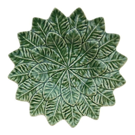 20th Century Bordallo Pinheiro Green Leaf Majolica Plate For Sale